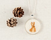 Bunny Rabbit Necklace Embroidered Felt - Circle pendant - Woodland animal - Silver Plated