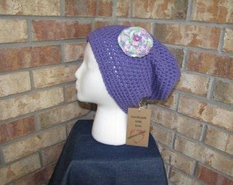 Slouchy Beanie Hat - Lavender Rosette