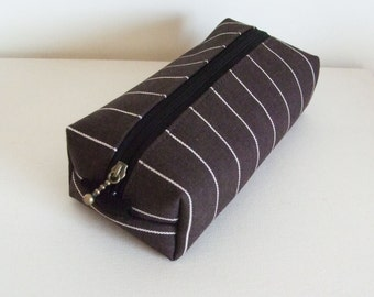 Long box pouch - denim brown stripe