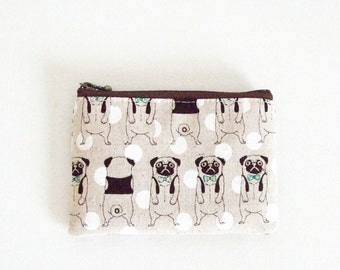 Mini zipper pouch  -pug (natural)