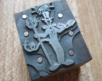 Vintage Letterpress Printers Block Devil With a Pitchfork