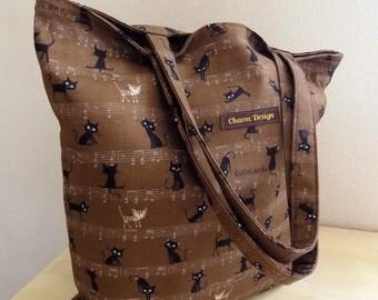 SALE - Black Cat in Brown - Tote Bag