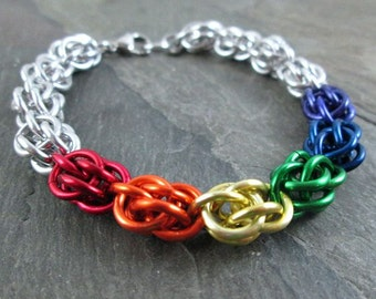 Chainmaille Bracelet - Rainbow Chainmaille - Sweetpea Bracelet - Chainmaille Jewelry
