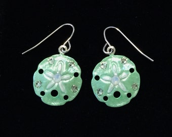 Sand Dollar Earrings Handpainted Pearlescent Icy Green