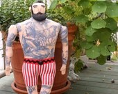Big Man with Tattoos and Beard doll in Shorts Circus