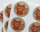 Woodland Raccoon Kraft Stickers Orange (1.67 inch, 24 labels, 1 color)