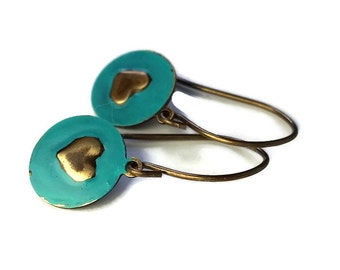 Gift for Her / Small Heart Earrings / Gift / Pressed and Painted Metal / Brass Discs / Heart Design / Colorful Earrings / Girlfriend Gift