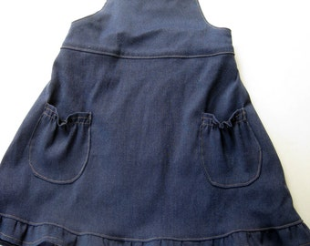 Vintage Denim Dress- Girls Denim Jumper- Girls Cross Back Jumper Dress- Dark Blue Dress- Toddler Girl Dress- Size 1T 2T Clothing-Retro Dress