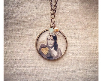 Just a Good Gal vintage photo collage necklace