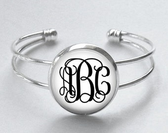 Custom Monogram Cuff Bracelet - Choice of Font and Color