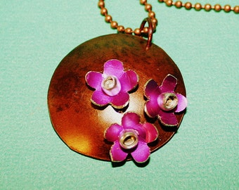 Purple Flower Garden Necklace - Copper Disc Pendant - Anodized Aluminum Flowers - Blackened Sterling Silver Chain -Last One
