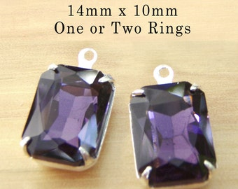 Amethyst Purple Glass Beads - 14mm x 10mm Octagons in Silver or Brass Settings - Rhinestone Glass Charms or Jewels - One Pair