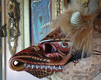 DRAGON MASK, Leather MASKS, wearable one of a kind art mask, blacklight reactive, hand painted by FreeRolando