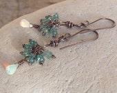 EMERALD and Ethiopian OPAL cluster earrings, sterling silver, genuine Emeralds, handmade artisan earrings, Angry Hair Jewelry