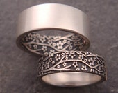 Opposites Attract Wedding Band Set -- Cherry Blossom Pattern in Sterling Silver