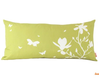 Yellow Olive Green Magnolia  and Butterflies Rectangle Pillow