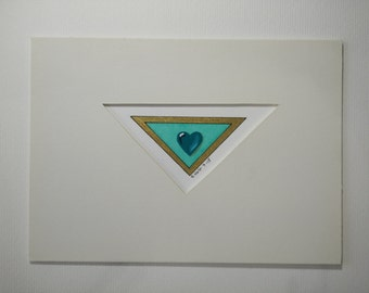 Teal Heart Jewel Tiny Painting