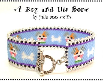 Julie Ann Smith Designs A DOG and HIS Bone Odd Count Peyote Bracelet Pattern