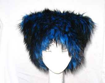 Mi Vida Azul faux fur hat Kozy Kitty Hat Royal Blue husky fur hat fleece lined blue black Mardi Gras Men Women fuzz hat Burning Man festival