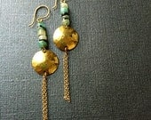 Blue Green Hammer shell Gold Discs Earrings (domed)