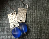 Sale - Blue Sea Glass Silver Earrings