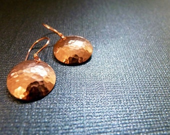 Copper  Disc Earrings - Hammered and Domed (small)