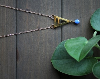 Umea Necklace - geometric minimal triangle arrow art deco blue cerulean long affordable simple easy gift for her gold brass