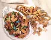 Big Lot of Vintage Wooden Beads and Jewelry Parts