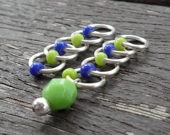 Small Snag Free Knitting Stitch Markers Cobalt Sour Apple Seed Beads Fits Needles Up To 4.5mm