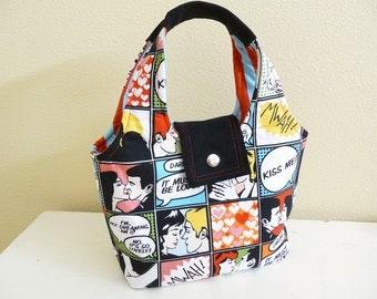 Small Cotton Handbag, Kiss Me Comic Purse, Fun Novelty Print Fabric Bag