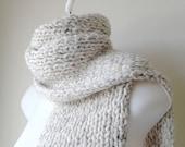 Chunky Hand Knit Oatmeal Heather Scarf Neutral Rib Knit Scarf Natural Men Women Unisex CLARKE Ready to Ship - Fall, Winter Fashion