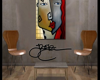 Abstract art painting Modern Home Decor LARGE Canvas Wall woman by Fidostudio