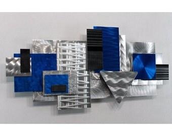 Silver Abstract Metal Wall Sculpture - Blue Home Decor - 3D Wall Art - Modern Metal Accent - Wall Hanging - Blue Focal Point by Jon Allen