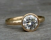 Moissanite Gold Engagement Ring - Forever Brilliant Moissanite and Recycled 14k Yellow Gold - Matte / Brushed - Made To Order