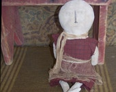 Primitive Doll, Early Style Doll, Rustic Snowman, Attic Look Rag Doll, Early American Cloth Doll, Worn Out Doll, Handmade in USA