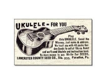 Vintage Ukulele For You Ad Sell Seeds fridge Magnet kitchen refrigerator magnet funny old ad