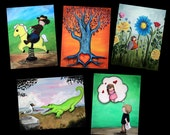 Land Themed Postcard Pack - Featuring 5 paintings by Marcia Furman - Whimsical Fantasy Surrealist