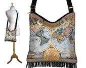 Hippie Bag Hobo Purse Crossbody Slouch Bag Gyspy Boho Fringe Bag, World Map Vintage  Map,  steampunk, zipper, long strap, blue black MTO