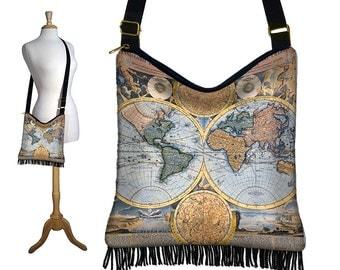 Hippie Bag Hobo Purse Crossbody Slouch Bag Gyspy Boho Fringe Bag, World Map Vintage  Map,  steampunk, zipper, long strap, blue black MTO
