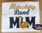 Marching Band Mom Shirt, Marching Band Shirt, Marching Band Gifts, Ready to Ship Custom Marching Band Mom Tee Medium Sax Saxophone
