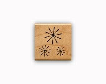 Starburst Mounted rubber stamp, fireworks, celebration, flowers, retro stars, snow flakes, snowflakes, Sweet Grass Stamps #23