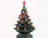 Deck the Halls with a Vintage Inspired Ceramic Christmas Tree 11 1/2 Inches Tall Electric Lighted with Colorful Plastic Lights and Star