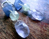 Pastel LUXE Gemstone Earrings - Iolite - Prasiolite - Amethyst - Sterling Silver - Blue Purple Yellow - catROCKS - Artisan - Etsy Jewelry