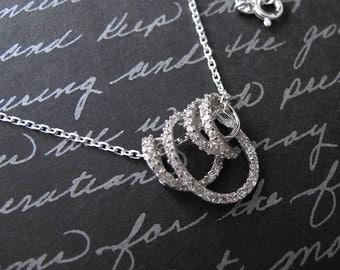 vine - sterling silver cz necklace