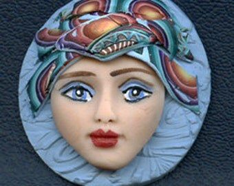 Polymer Clay OOAK Detailed Art Doll Face with Abstract hat Cab  CNF 1
