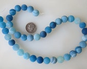 Aqua Blue Frosted Agate Round Beads 10mm Half Strand