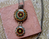 Italian jewelry, Italian pottery design pendant, boho jewelry, Statement necklace, Bohemian necklace