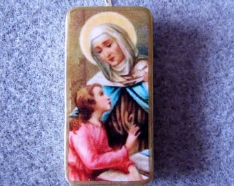 St. Ann Anne Catholic Recycled Domino Necklace Patron Mothers, Women in Labor A3