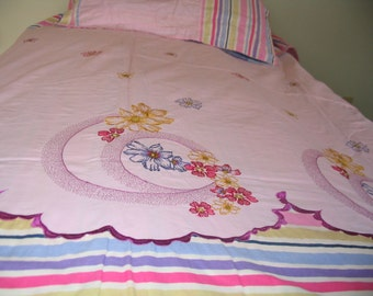 Queen Duvet  Cover with Two Pillow Covers Used