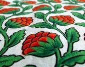 Vintage Single Curtain - Flowery fabric  - Raspberry red stems